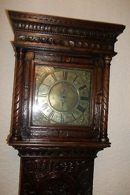 18Th Century 30 Hour Longcase Clock In Heavily Carved Oak