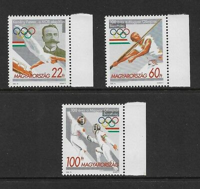 HUNGARY 1995 Centenary Hungarian Olympic Committee, mint set of 3, MNH MUH