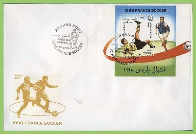 Afghanistan 1996 French Football miniature sheet on First Day Cover