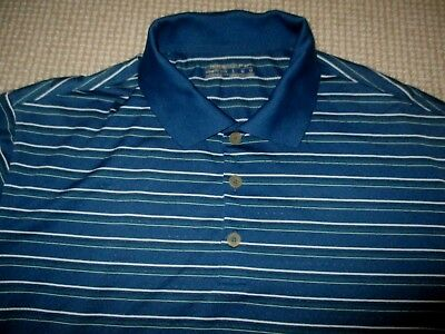 Nike Fit Dry Mens Quality Striped Golf Shirt Sz Large In Vgc  - Authentic