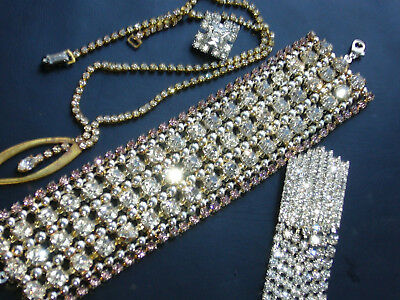 Huge Vintage Exlusive Antique  Rhinestones Lot Of Jewerly Mix Glass  B400