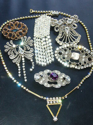 Huge Vintage Exlusive Antique  Rhinestones Lot Of Jewerly Mix Glass  B402