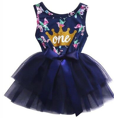 Girls 1st Birthday Dress Outfit Tutu Skirt Navy Floral First Cake Smash 12Months