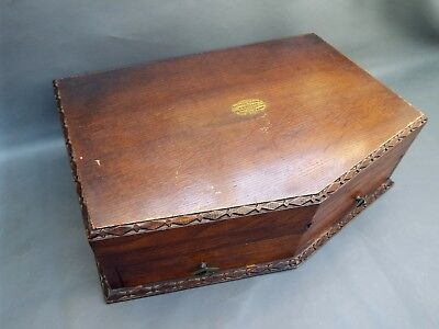 Vintage empty wooden oak cutlery box with drawer - Art Deco 1930's