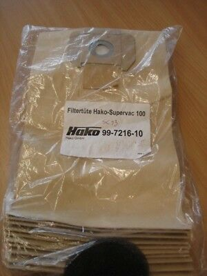 Pack of 10 vacuum cleaner bags for Hako-Supervac 100.