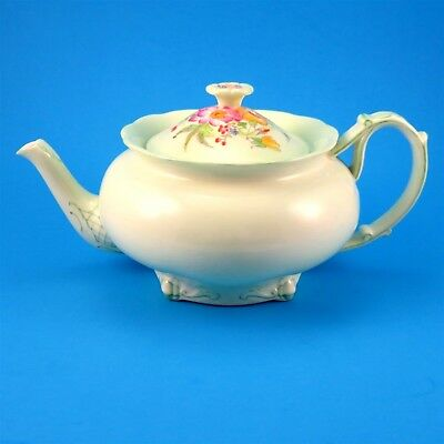 Royal Paragon Pale Green with Hand Painted Floral Lid Small Teapot