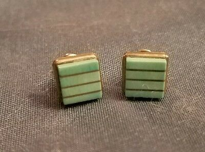 Pair Of Dainty Vtg Signed SJT STERLING & TURQUOISE Square Pierced Earrings!