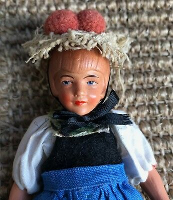 ANTIQUE 1920s CELLULOID DOLL in GERMAN BLACK FOREST COSTUME ART DECO STYLE FACE