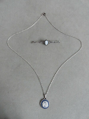 "Hallmarked Silver Wedgwood Cameo Pendant + 17"" Silver Chain + Cameo Bar Brooch"