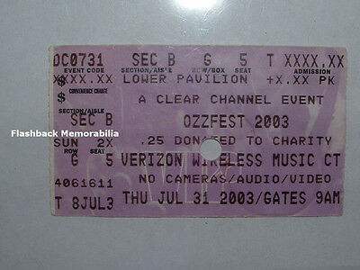 OZZFEST 2003 Concert Ticket Stub INDIANAPOLIS Marilyn Manson KORN Disturbed OZZY