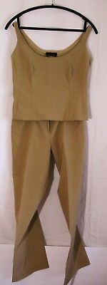 Authentic PRADA Vintage Top and Pants Set sz small Tan Tailored