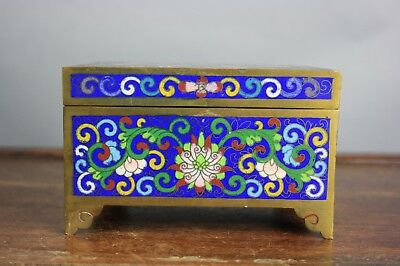 19th/20th C. Chinese Cloisonné Rectangular Box And Fitted Cover