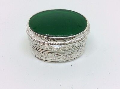 Rare Antique Silver Metal Green Stone,pill Box/Snuff Box/Trinket Box