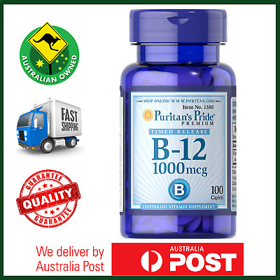 Vitamin B-12 1000 mcg Timed Release 100 Caps by Puritan - AUS STOCK FAST SHIP!