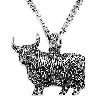 Scottish Highland Cow Pewter Pendant Necklace on Chain