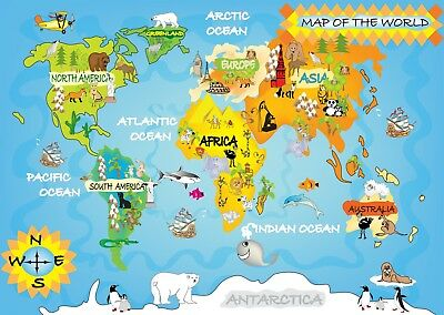World Map For Kids Bedroom Poster Art Print A0 A1 A2 A3 A4 A5 Maxi