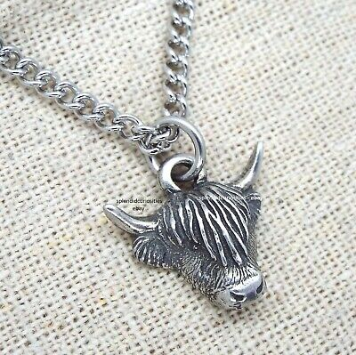Small Scottish Highland Cow Pewter Pendant Necklace on Chain with Display Card