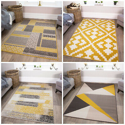 Mustard Ochre Grey Rugs Large Small Fluffy Shag Chevron Geometric Room Area Rug