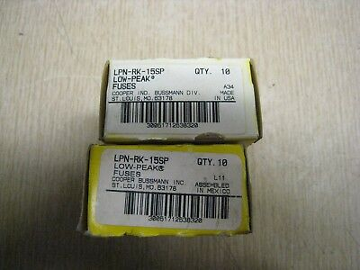 New Lot OF 20 IN BOX  Bussmann LPN-RK-15SP 15 Amp Fuses Low Peak 250 Volts