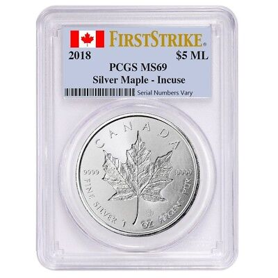 2018 1 oz Silver Canadian Incuse Maple Leaf PCGS MS 69 First Strike