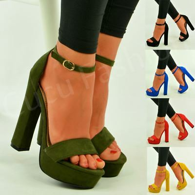 6d68a2b74cf Womens Ladies Platform High Block Heel Strappy Sandals Ankle Strap Shoes  Size Uk