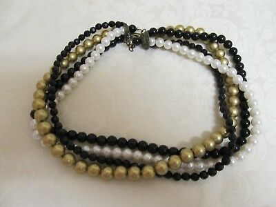 """Vintage 4 Strand Faux Pearl & Bead 18"""" Necklace"""