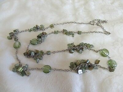 """Long 38"""" Green Bead Polished Shell, Glass & Silver Tone Chain Necklace"""