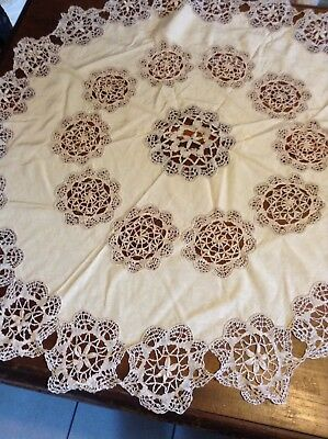 "Vintage Antique Linen Tablecloth Extensive Crochet Work Round Unusual 41"" Diam"