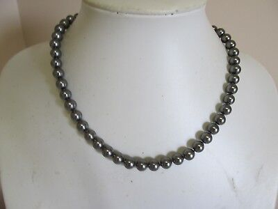 """Knotted Faux Pearl 16"""" String In Gun Metal Color"""