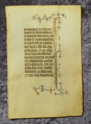 ILLUMINATED 14th Cent. Book of Hour leaf 2 borders gold and colours  #B991S