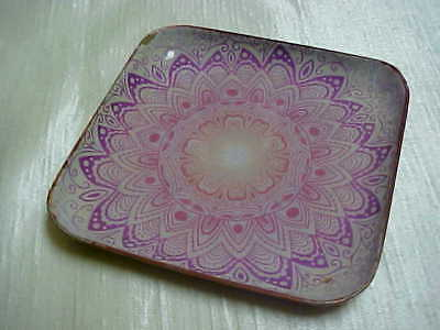 Pink Geometric Decorated Square Shaped Copper Small Size Plate Circa 1970's