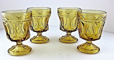 On the Rocks Anchor Hocking Fairfield Honey Gold 8oz Low Footed Goblets Vtg 4pcs