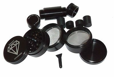 SMART CRUSHER 5 Part Titanium Tobacco Spice Herb Grinder & 7 Piece Press Combo