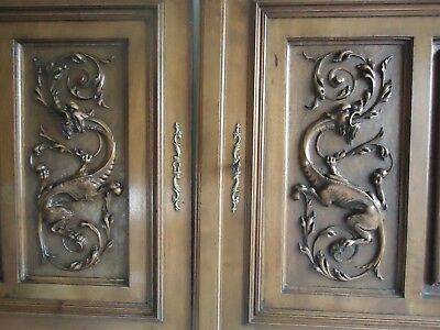 pair antique french door panel carved gargoyle chimera mythology gothic