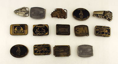 Lot of 14 Vintage Mining and Trucking Belt Buckles Bronze, Brass, Metal