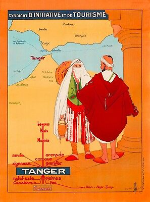 Tanger Tangier Morocco Africa Map Vintage Travel Advertisement Art Poster Print