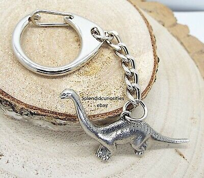 Diplodocus Dinosaur Pewter Keyring (Comes in Gift pouch, Made in The UK)