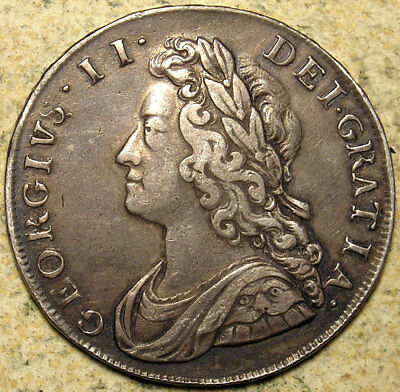 Great Britain: 1735 George II Young-Head Roses & Plumes Silver Halfcrown