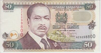 KENYA BANKNOTE P36g-8800  50 SHILLINGS 1.7.2002 PREFIX AZ REPLACEMENT, VF-EF