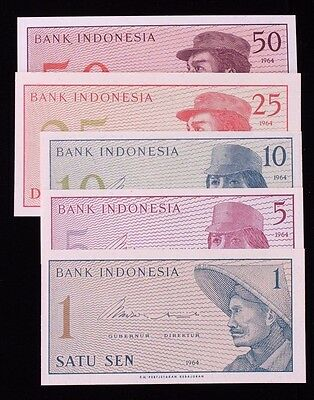 1964 Bank of Indonesia Lot of 5 Banknotes Sen 1 P90 5 P91 10 P92 25 P93 50 P94