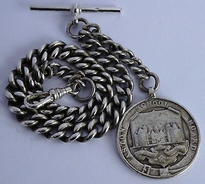 Chunky antique graduated solid sterling silver pocket watch albert chain & fob
