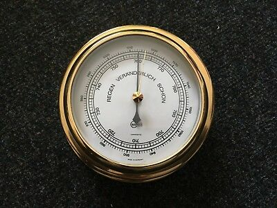 Barigo Compensated Schiffsbarometer Messing, Made in Germany, Ø 15 cm