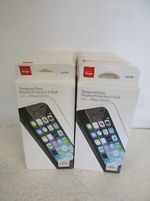 Verizon iPhone 5/5s/5c Tempered Glass Display Protector 1 pack Lot of 10