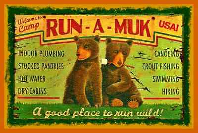 Camp Run A Muk Sign Metal 8X12 Lodge Log Cabin Fishing Cabin Rustic Summer Camp