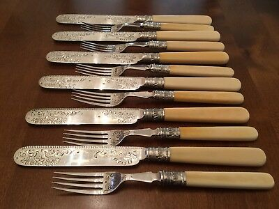 Superb Antique Robert Fead Mosley Silver Plated Dessert Knives And Forks