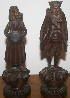 """Old BLACK FOREST Carved wood FIGURES 8"""" tall"""