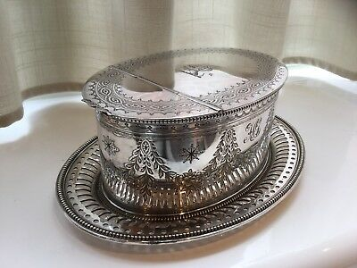 SUPERB VICTORIAN ELKINGTON SILVER PLATED CHASED SPOON WARMER CIRCA 1892 (rare)
