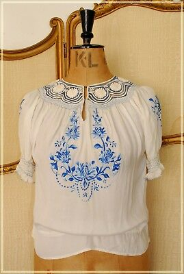 ANTIQUE VINTAGE HUNGARIAN PEASANT BLOUSE FOLK ART HAND EMBROIDERY 1930s