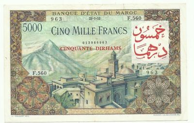 Morocco - 50 Dirhams on 5,000 Francs ND - Pick 51 Condition XF RARE
