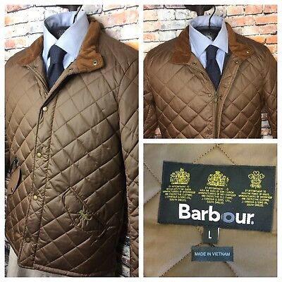 Barbour Quilted Jacket Coat Chelsea Sports Sandstone Brown Mens Large